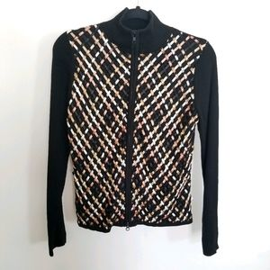 Austin Reed Woven Detail Zip Front Sweater